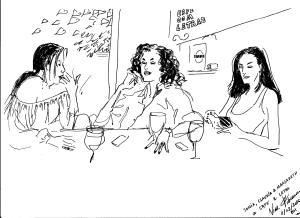 Desenho Nicole Pibeaut Sonia,Claudia e Margaret Cafe com Letras